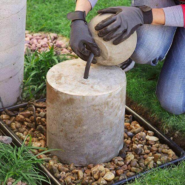 diy concrete fountain idea