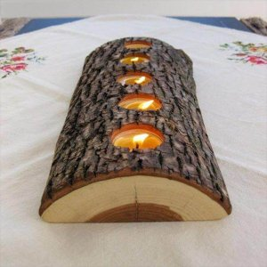 vintage wood candle holder