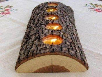 vintage wood candle holder