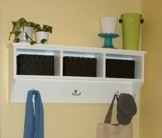 white color entry way storage shelf