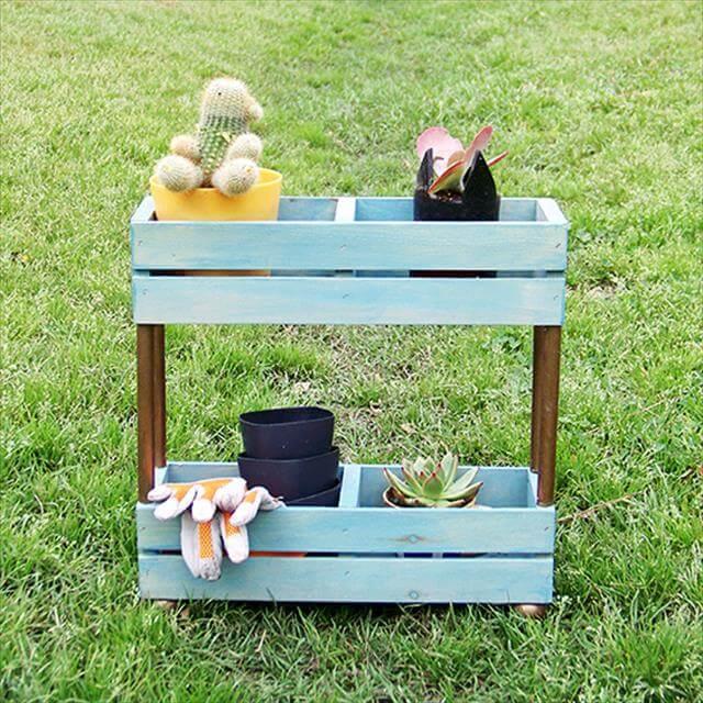 Out Door Wooden Diy Garden Shelf