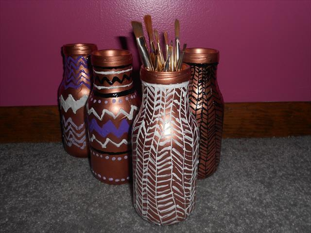 diy painted glass bottles crafts idea
