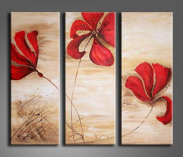 10 easy diy canvas art ideas for beginners diy to make for Simple flower paintings for beginners