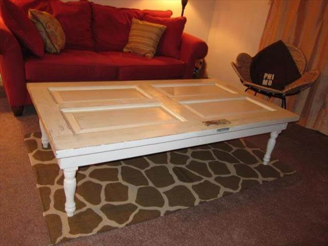Diy old doors turn into coffee table diy to make - Make a table from an old door ...