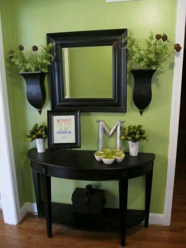Entry way half table storage idea