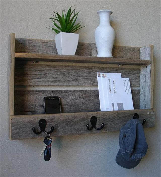 Rustic Entryway Hanger Hook Coat Rack with Shelf and Mail Phone Key Organizer on Etsy