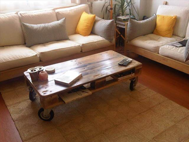 Door Coffee Table With Industrial Wheels
