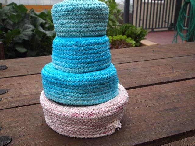 Handmade rope baskets