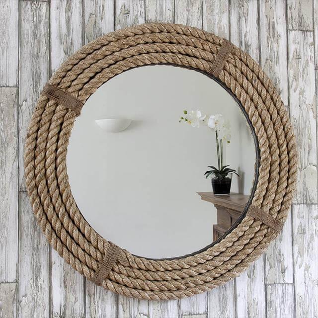 Rope Round Mirror Wall Oraganizer