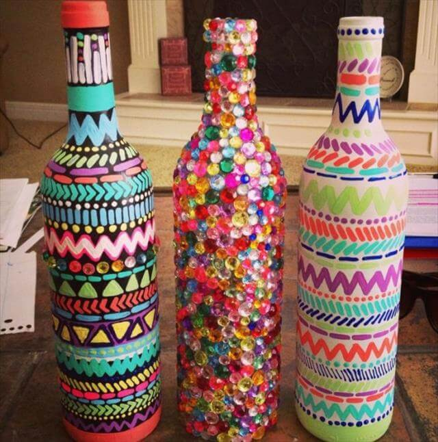 7 diy glass bottle decor ideas diy to make - How to decorate old bottles ...