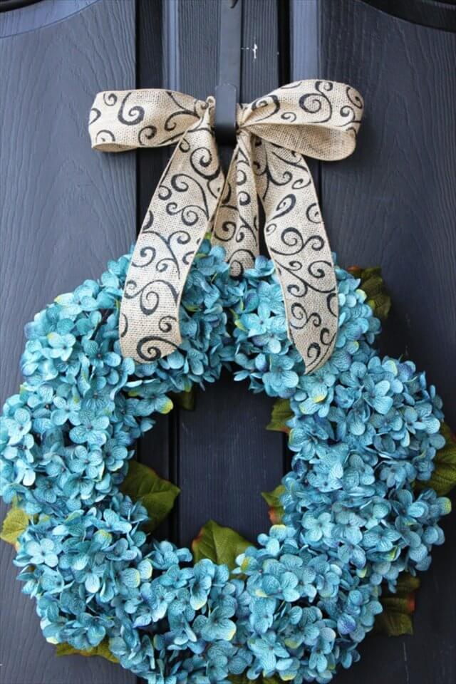 Blue-Hydrangea-Wreath-diy