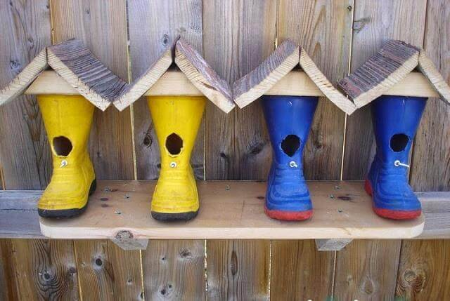 Birdhouse made from boots