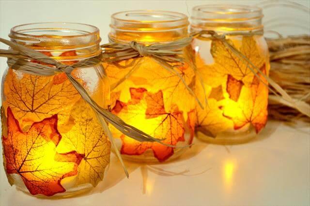 DIY Fall Leaf Mason Jar