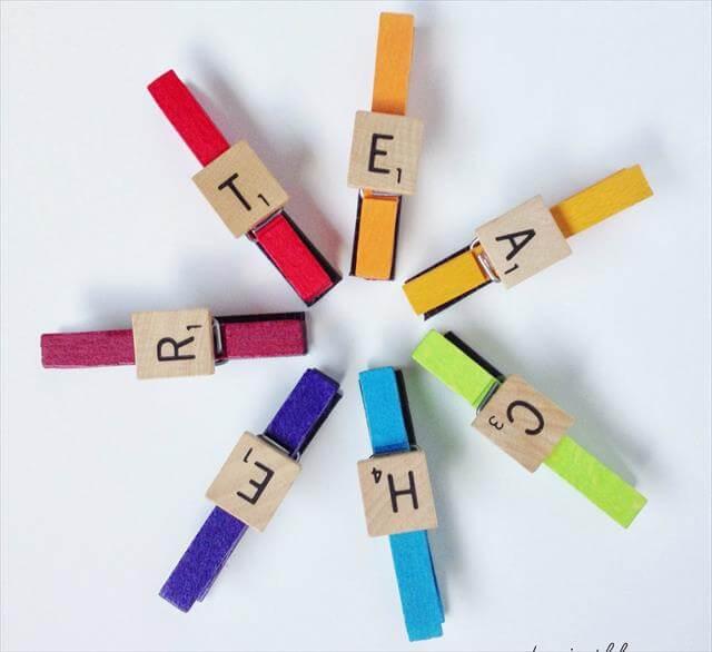 Scrabble Clothespin