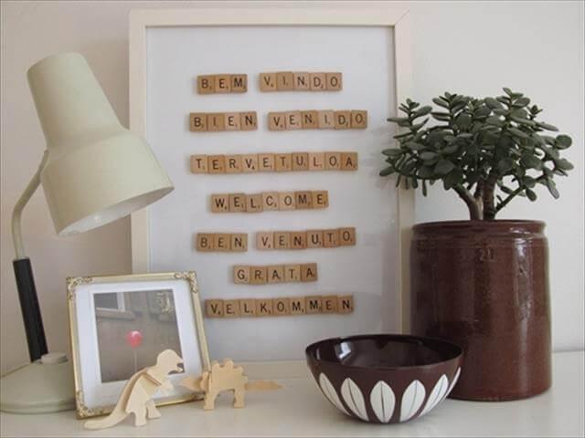 DIY Scrabble Art Work On Baord