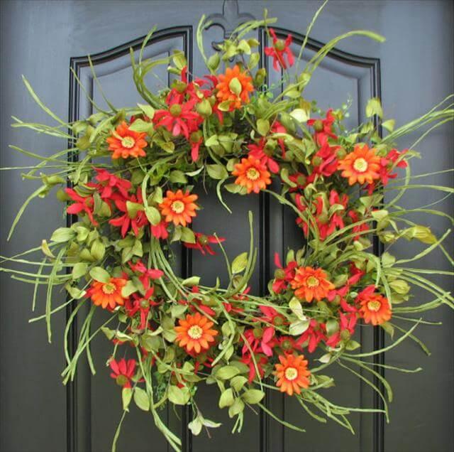 DIY Red Daisies Wreath