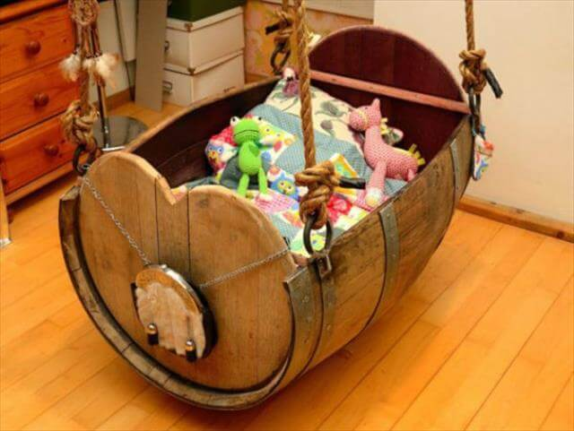 Wine Barrel Baby Cradle