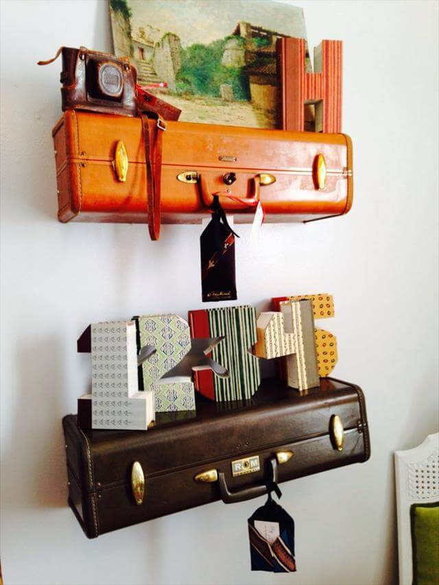Recycled Suitcase Shelves Refurbished
