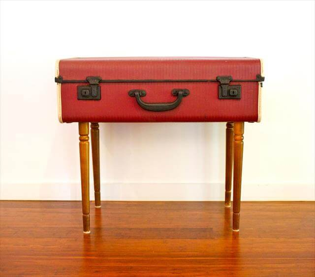 Red Suitcase Table Design