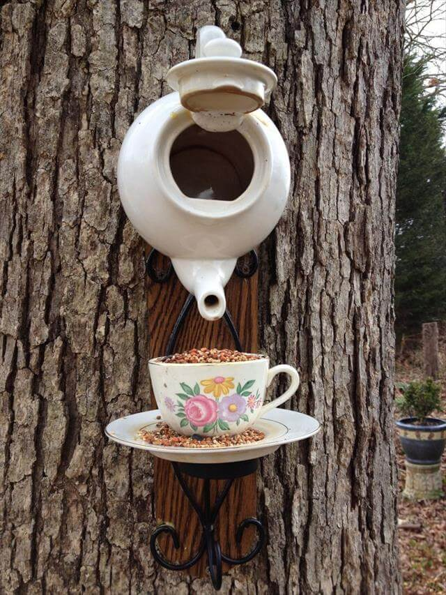 White Tea Pot Bird House