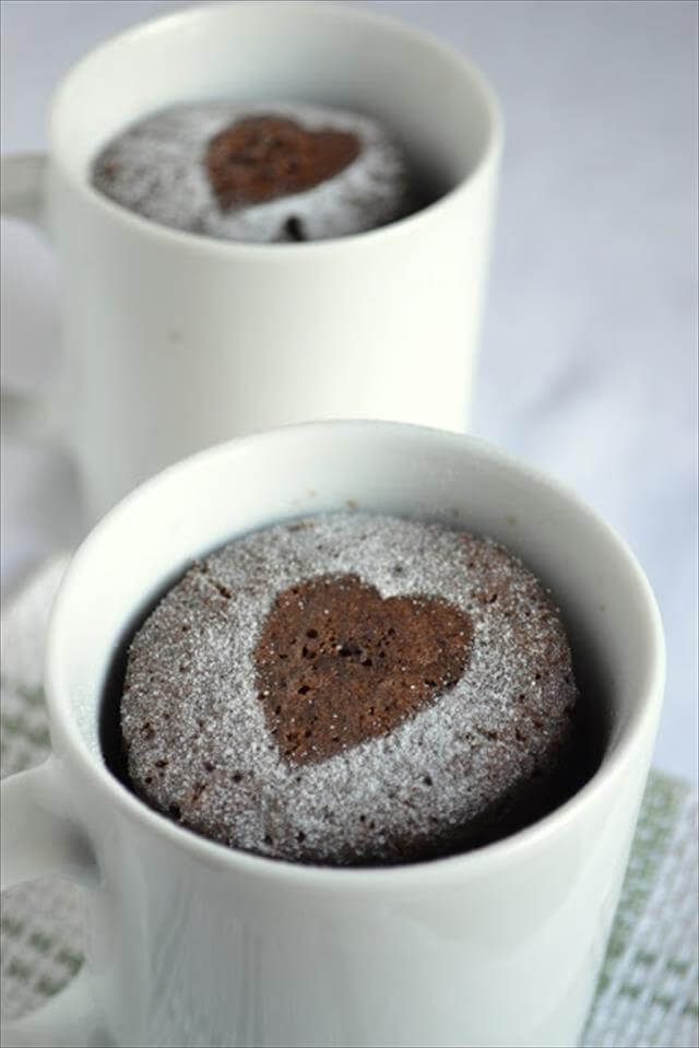 Heart Chocolate Mug Cake