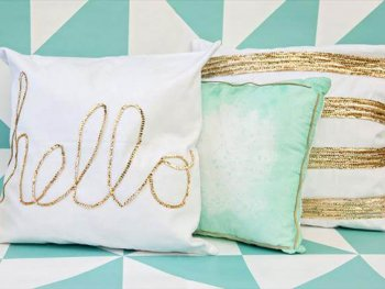 Diy glam pillow lifestyle