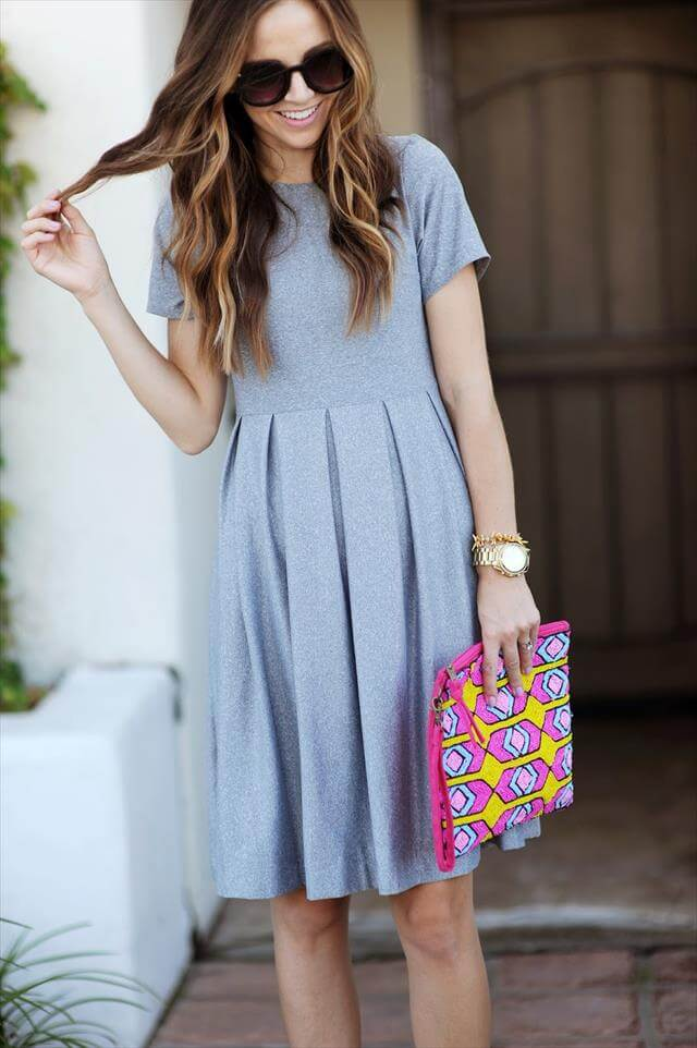 Pleated Fit + Flare Dress