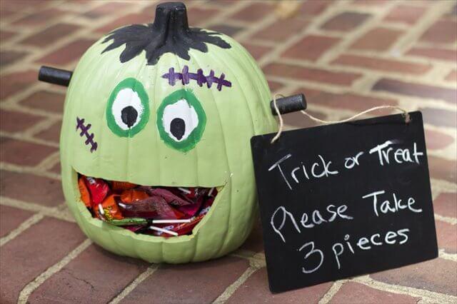 Frankenstein Pumpkin Candy Holder