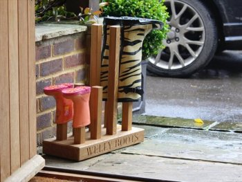 wooden boot stand