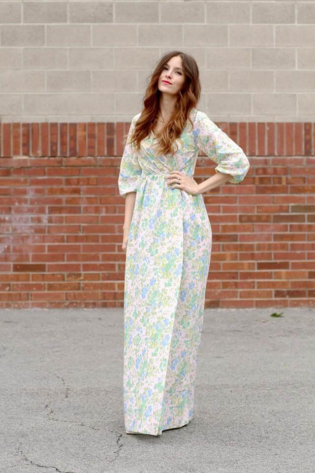 Peasant Maxi Wrap Dress