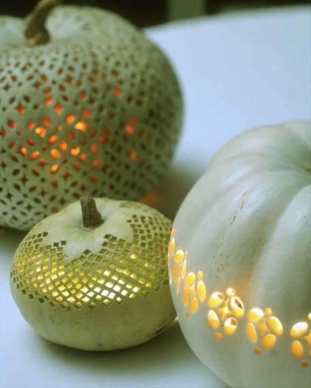 DIY Laced Type Carved Pumpkins