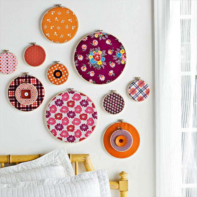 13 diy fabric scrap ideas diy to make for Fabric wall art