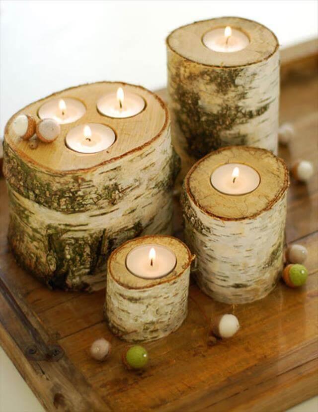 Real Log Candleholders