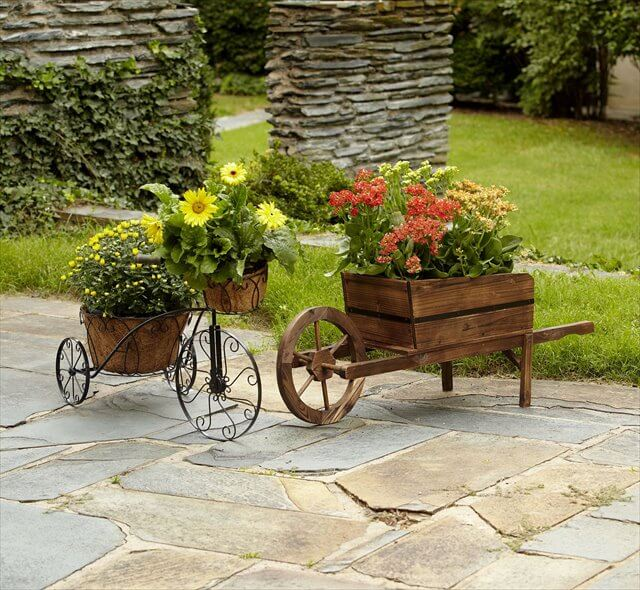 Wooden Wheelbarrow Planter Perth