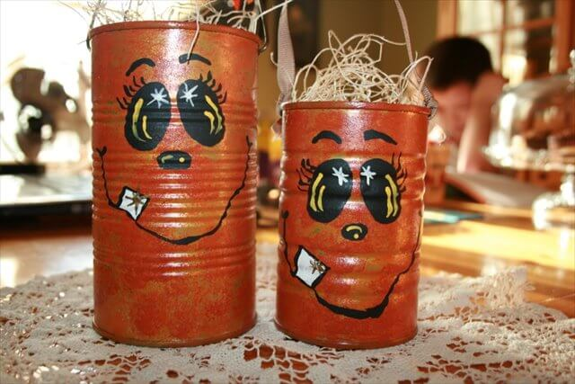 Recycled Tin Can Pumpkins
