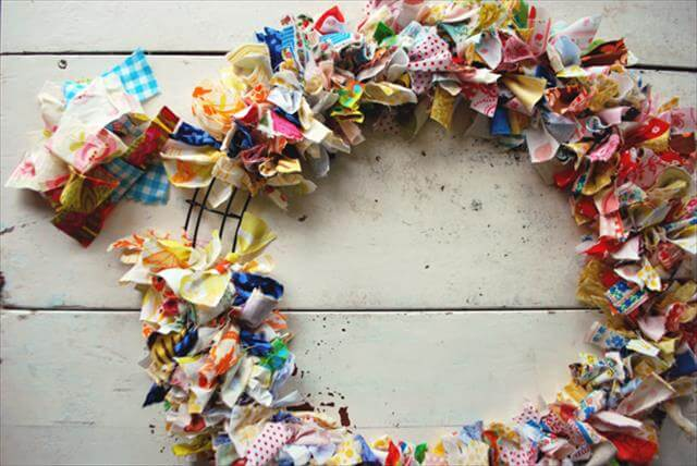 Colorful Fabric Scrap Wreath