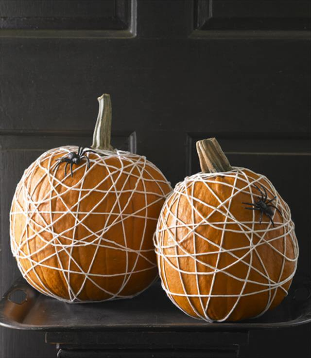 DIY Spider Web Pumpkin With Rope Decor