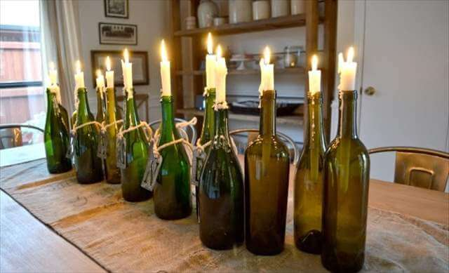 DIY Old Wine Bottle Candle Holder Design