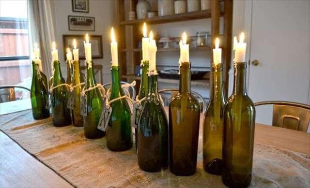 DIY Old Wine Bottle Candle Holder Design