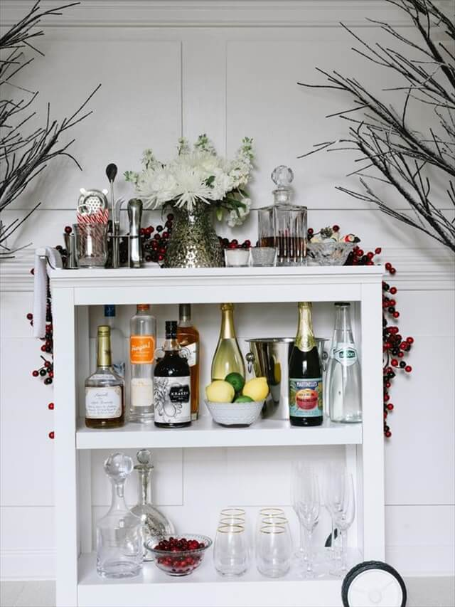 How to Make a Bar Cart From a Bookshelf
