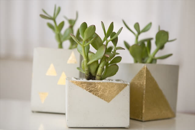 Gold Leaf Geometric Planters
