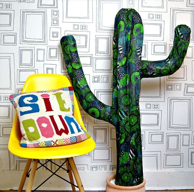 diy papet mach cactus