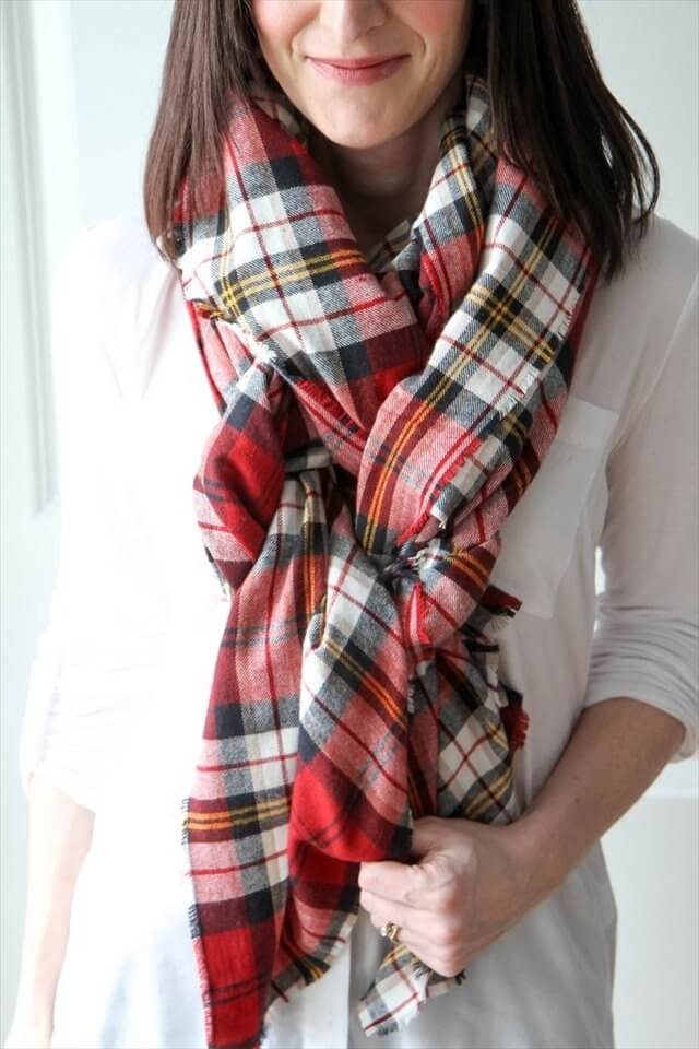 DIY Plaid Blanket Scarf