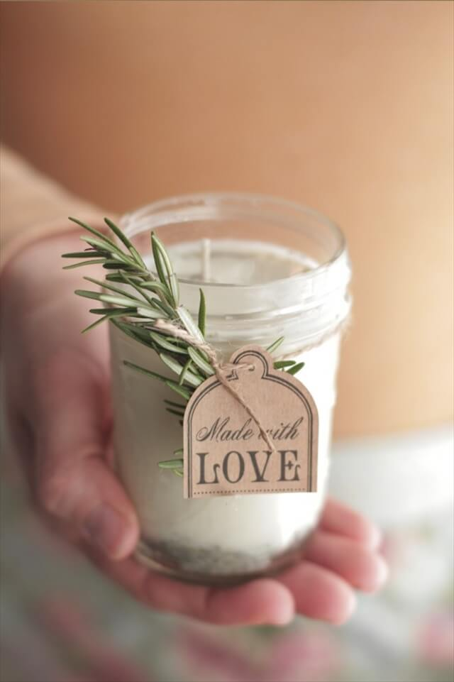 DIY Lavender Rosemary Scented Candle