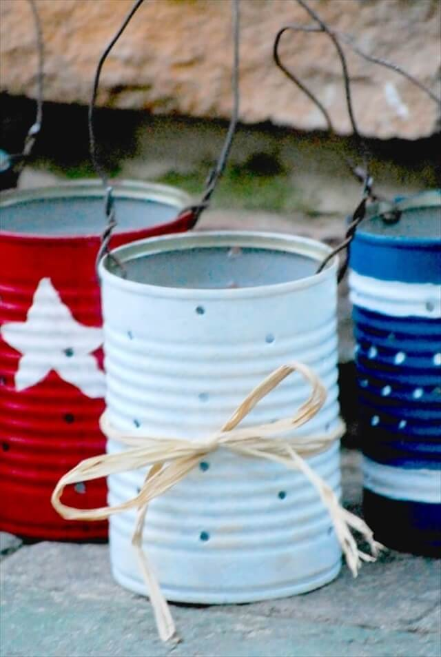 DIY Lanterns:Hand Painted Old Tin Can Lanterns For Home Decor
