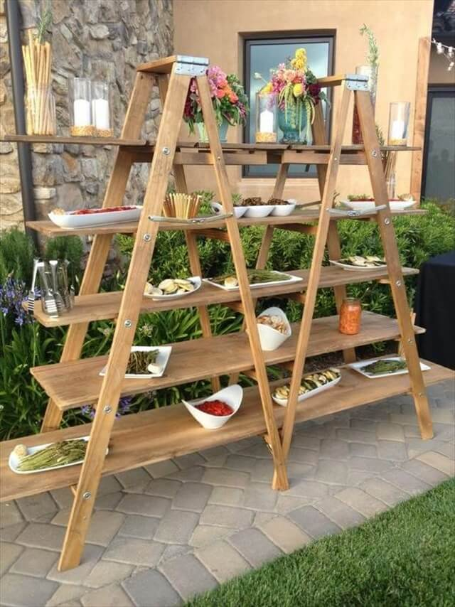 upcycled ladder shelves creative food display for garden decorationjpg