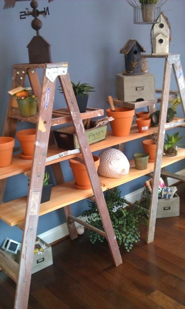 upcycled ladder shelves handmade plant pot stand with creative design