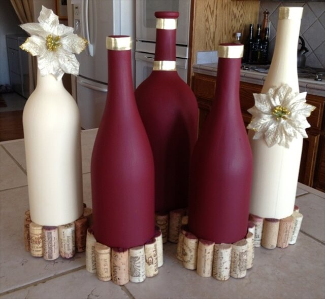 These all bottles are used as centerpiece of wedding and party decoration.