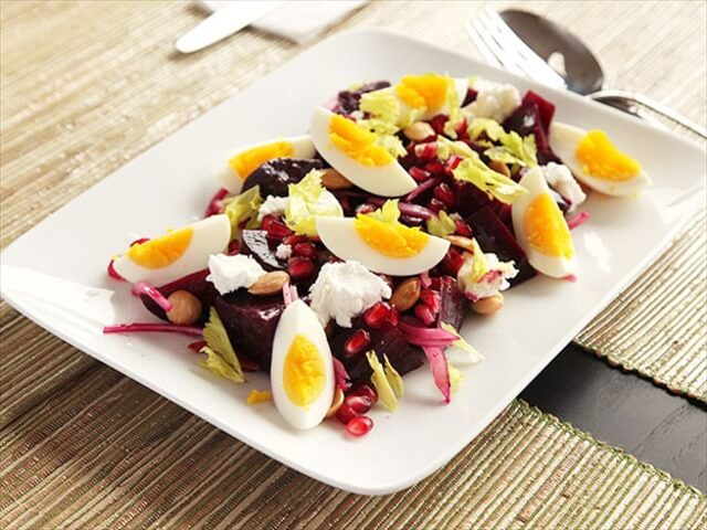 Beet, Goat Cheese And Egg