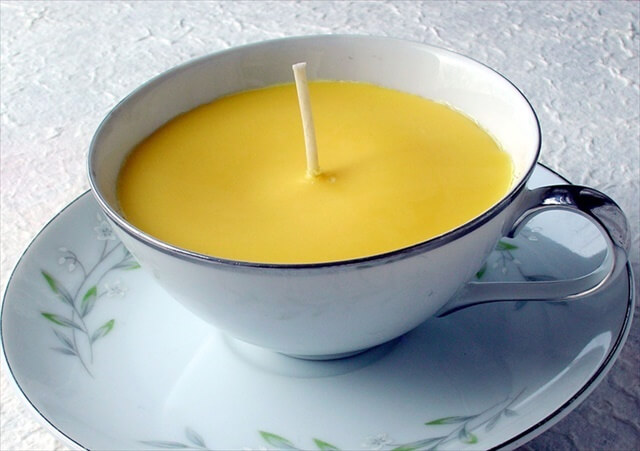 white tea cup candle